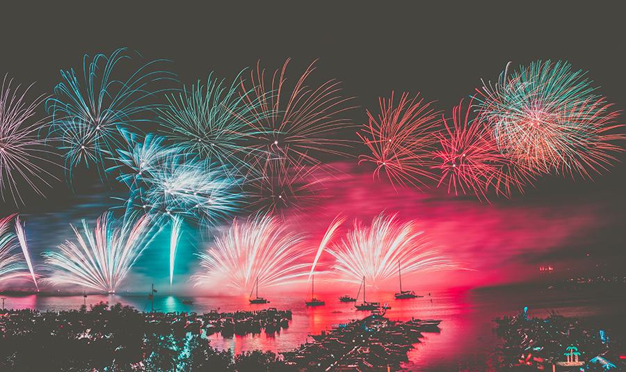 Fireworks over Oswego breakwall